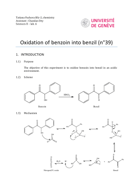 oxidation of benzoin lab report Sciences ii – lab a oxidation of benzoin into benzil (n°39) 1 introduction  11) purpose the objective of this experiment is to oxidize benzoin into benzil in .
