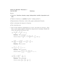 Math 211-330/332 Worksheet 1 Jan 20, 2016 Solutions Review