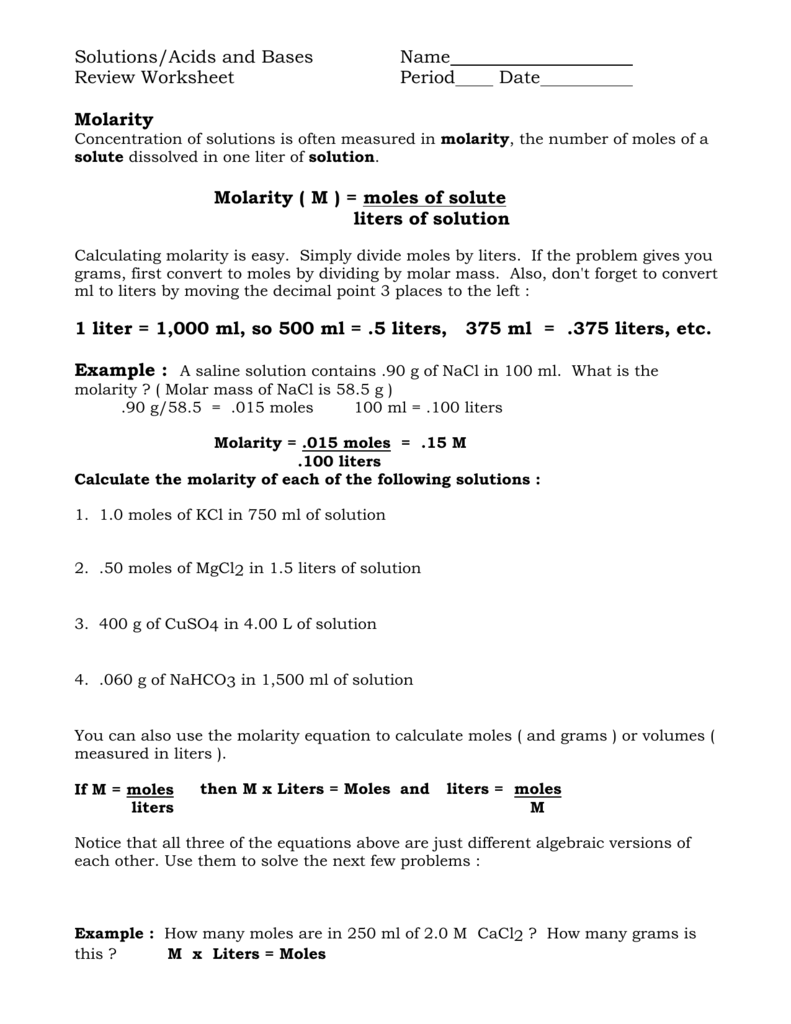 Solutions/Acids and Bases Name Review Worksheet Period Date
