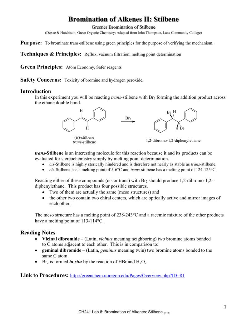 bromination of e stilbene mechanism