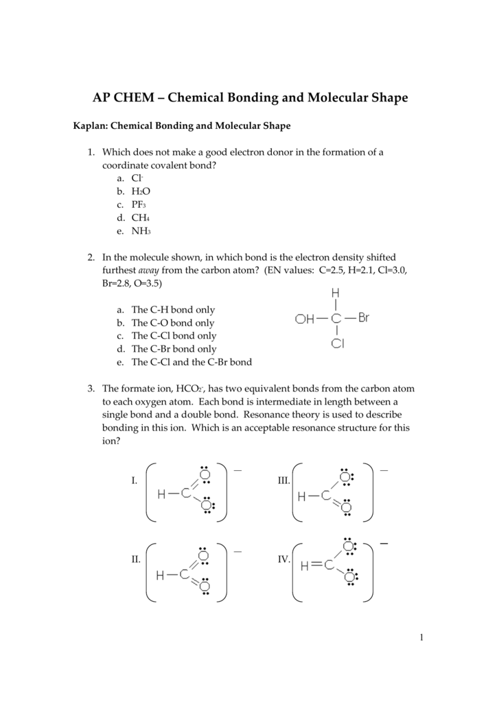 2009 AP Chemical Bonding