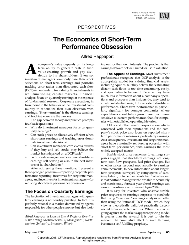 """""""The Economics of Short-Term Performance Obsession"""" by Alfred"""