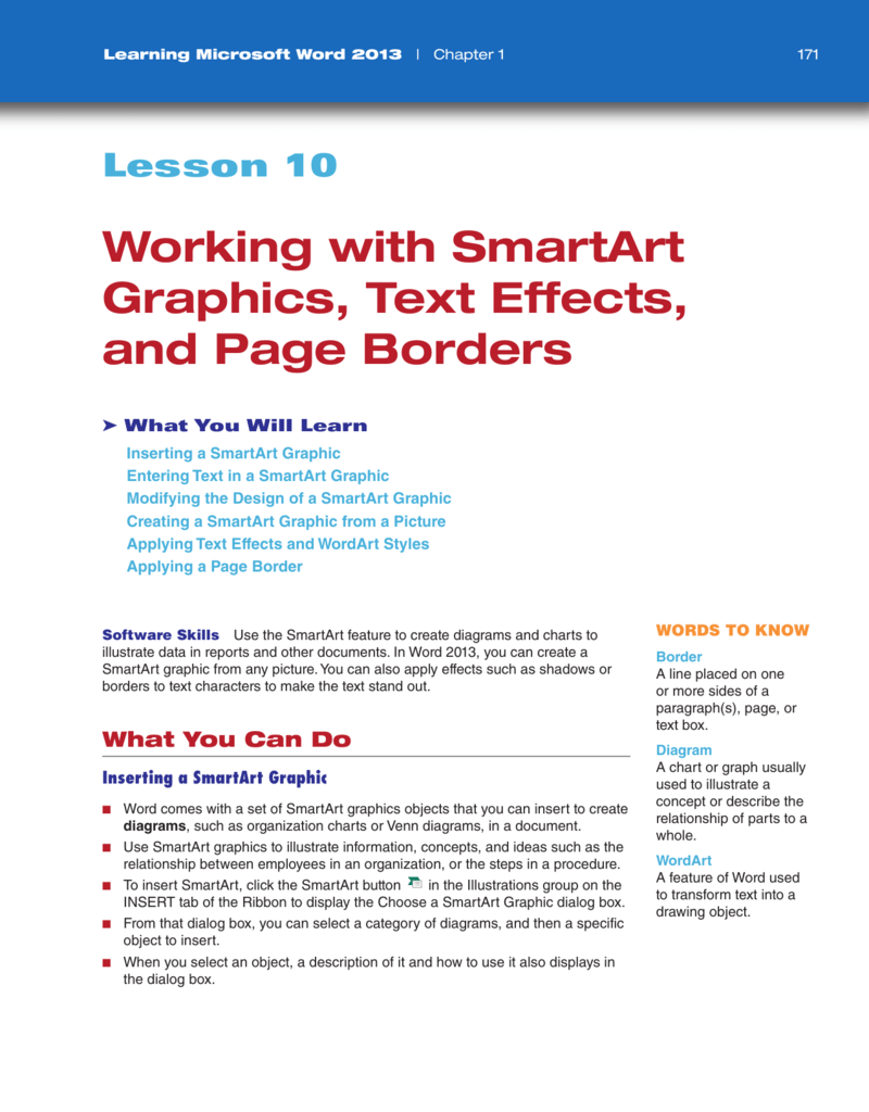 working with smartart graphics  text effects  and page borders