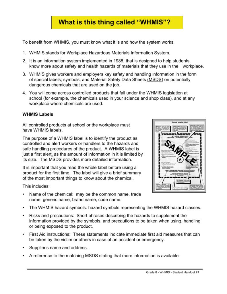 Student Worksafe Grade 8 Whmis Student Handouts