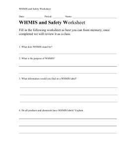 and Safety Worksheet