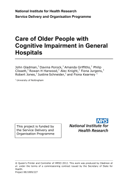 Care of older people with cognitive impairment in general hospitals