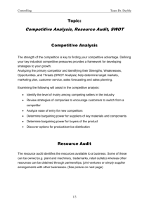 Competitive Analysis, Resource Audit, SWOT
