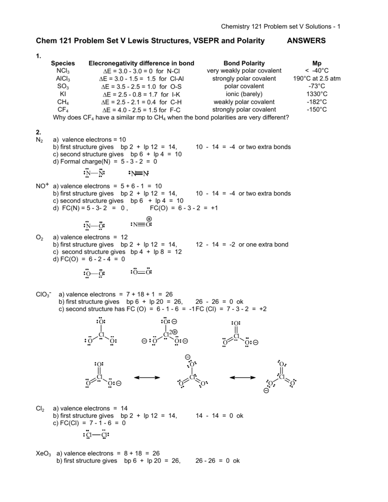 Worksheets Vsepr Practice Worksheet chem 121 problem set v lewis structures vsepr and polarity