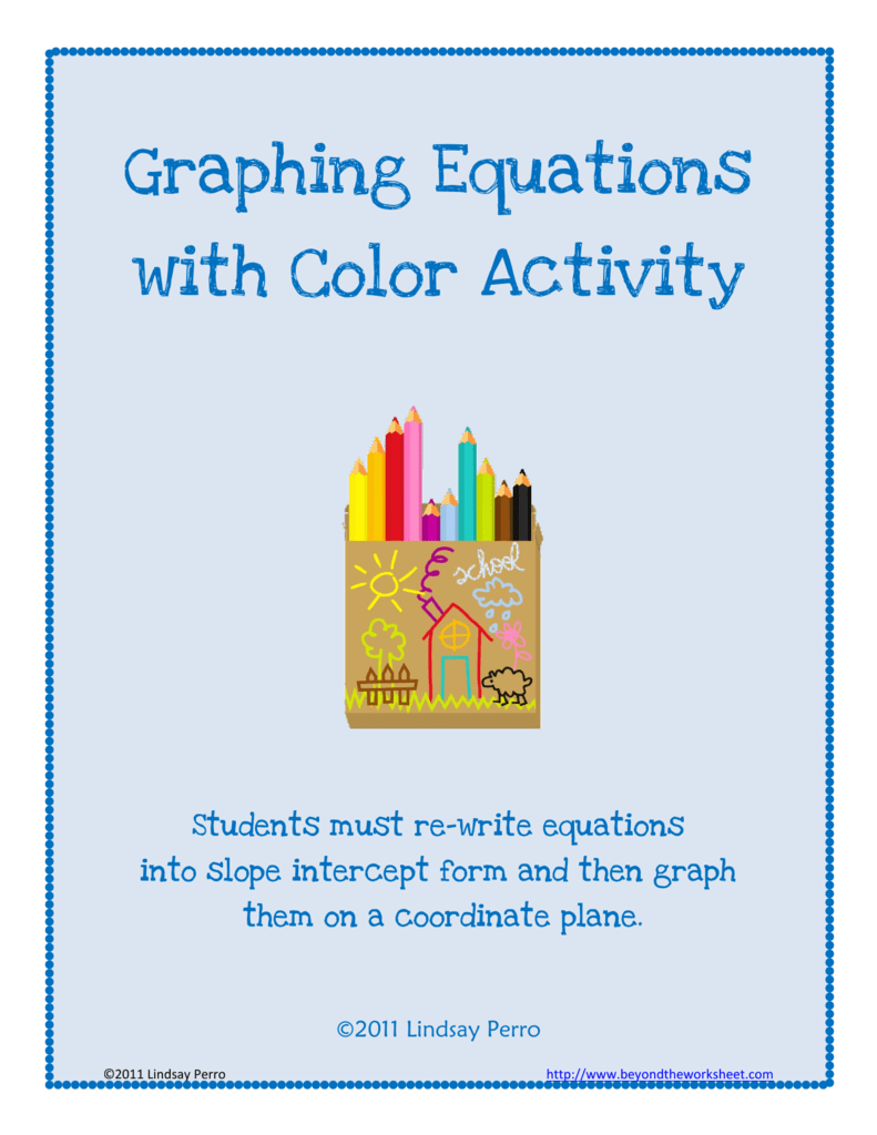 Graphing Equations with Color Activity