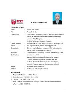 curriculum vitae universiti putra malaysia