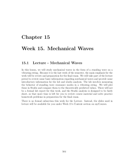 Chapter 15 Week 15. Mechanical Waves