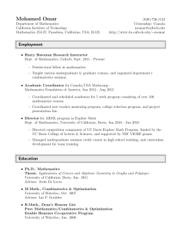 Curriculum Vitae - Information Management Systems & Services