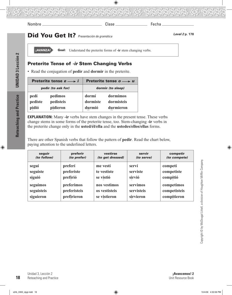 Avancemos 3 Unit Resource Book Answers Unidad 2 Leccion 1 ...