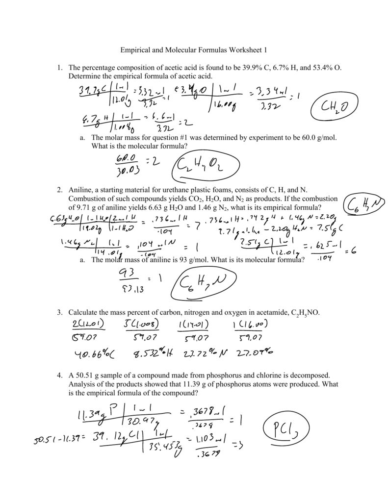 {Empirical and Molecular Formulas Worksheet 1 1 The percentage – Empirical and Molecular Formula Worksheet