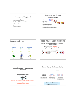 Overview of Chapter 13 Intermolecular Forces Dipole