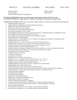 MATH 121 COLLEGE ALGEBRA SYLLABUS FALL 2014