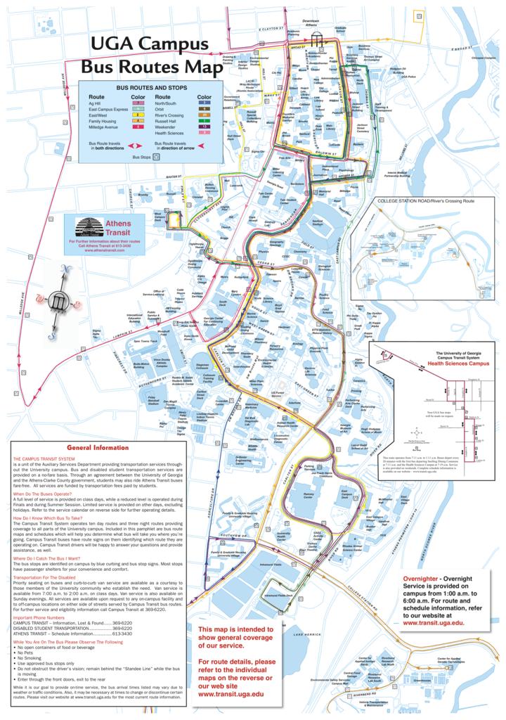 UGA Campus Bus Routes Map - UGA Campus Transit
