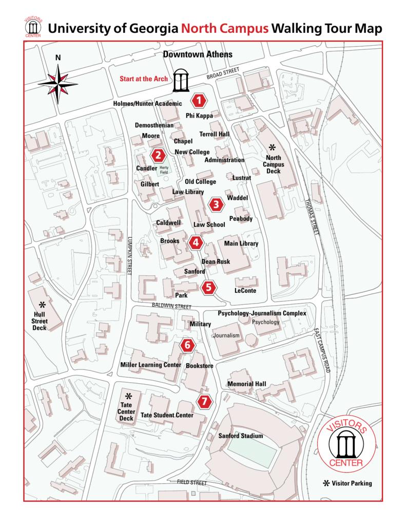 University of Georgia North CampusWalking Tour Map