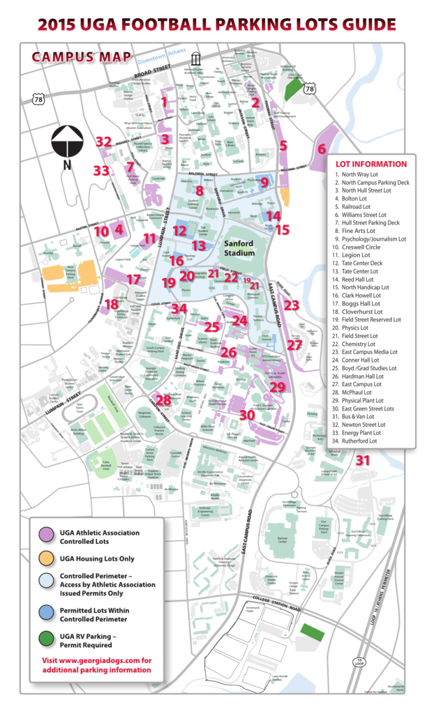 Uga Campus Map With Building Numbers.2015 Uga Football Parking Lots Guide