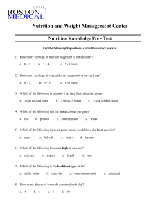 Nutrition Knowledge Pre-Test