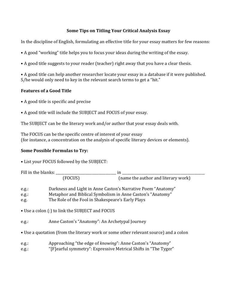 argumentative essay titles