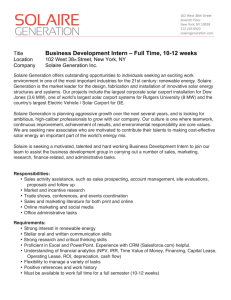 Business Development Intern – Full Time, 10-12 weeks