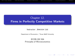 Chapter 12. Firms in Perfectly Competitive Markets