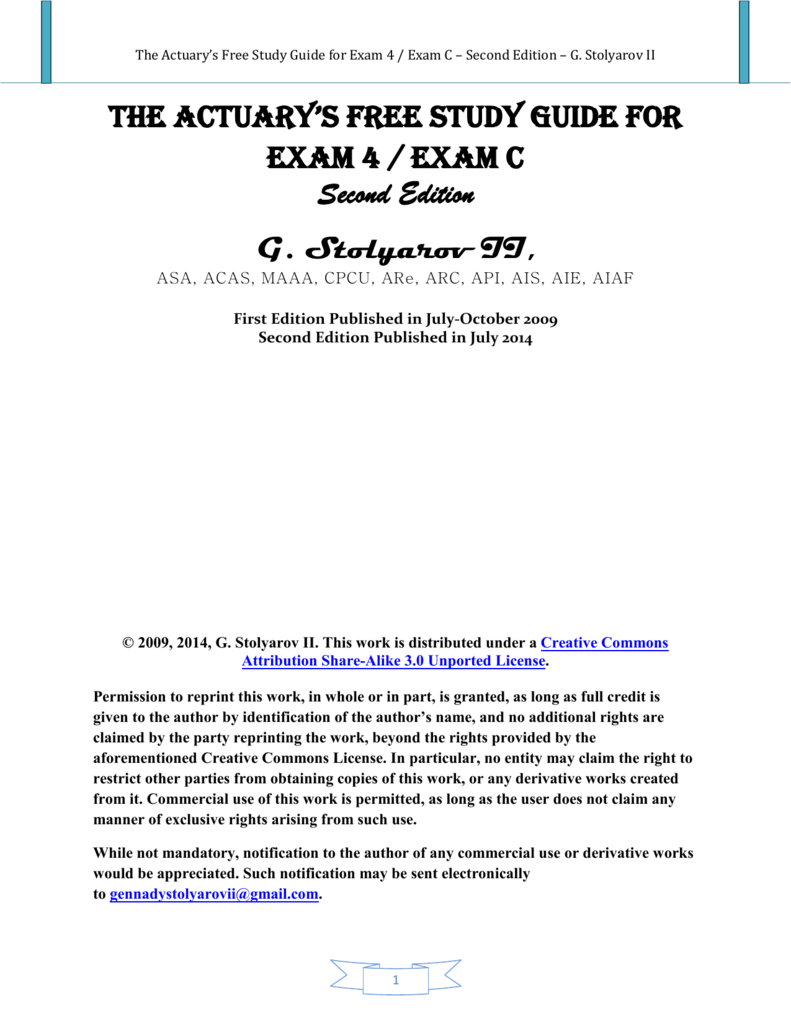 The Actuary's Free Study Guide for Exam 4 / Exam C – Second