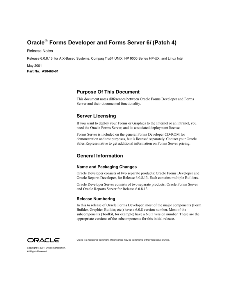 Oracle Forms Developer and Forms Server 6i (Patch 4)