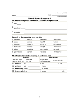 Word Roots Lesson 5