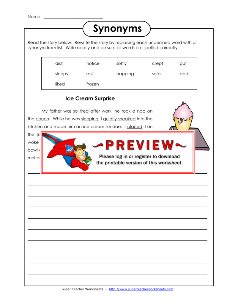 Synonyms - Super Teacher Worksheets