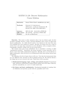 MATH-UA.120: Discrete Mathematics Course Syllabus