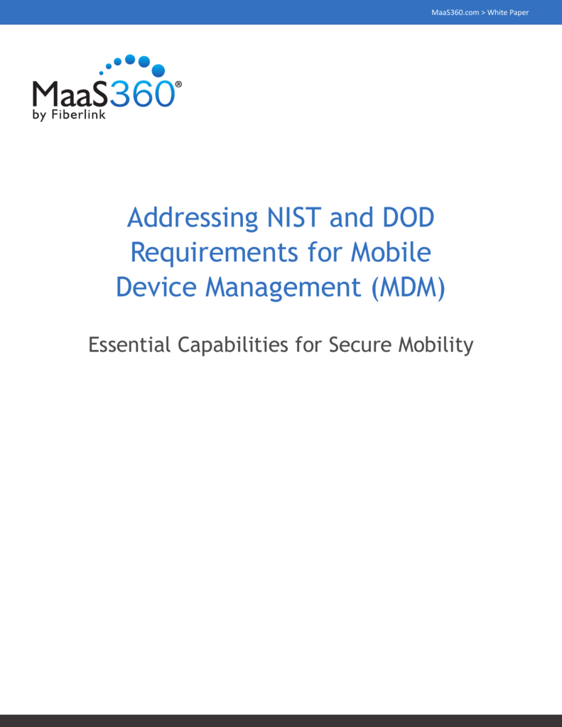 NIST and DOD Requirements for MDM