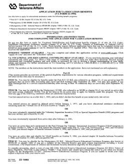 APPLICATION FOR VA EDUCATION BENEFITS (VA FORM 22-1990 ...