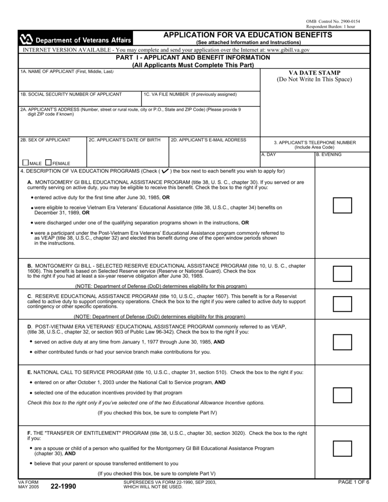 Va Form 22 1990 Tekil Lessecretsdeparis Co
