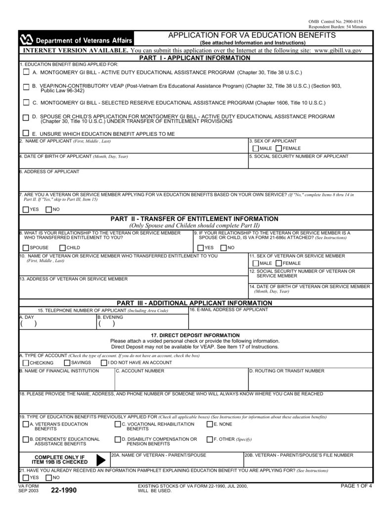 Form 22 1990 Application For Va Education Benefits