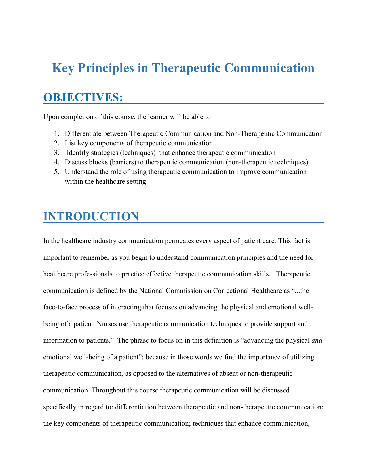 importance of therapeutic communication