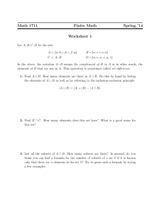 Math 1711 Finite Math Spring '14 Worksheet 1
