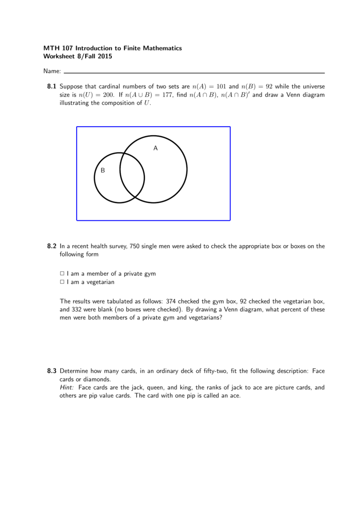Mth 107 Introduction To Finite Mathematics Worksheet 8fall 2015