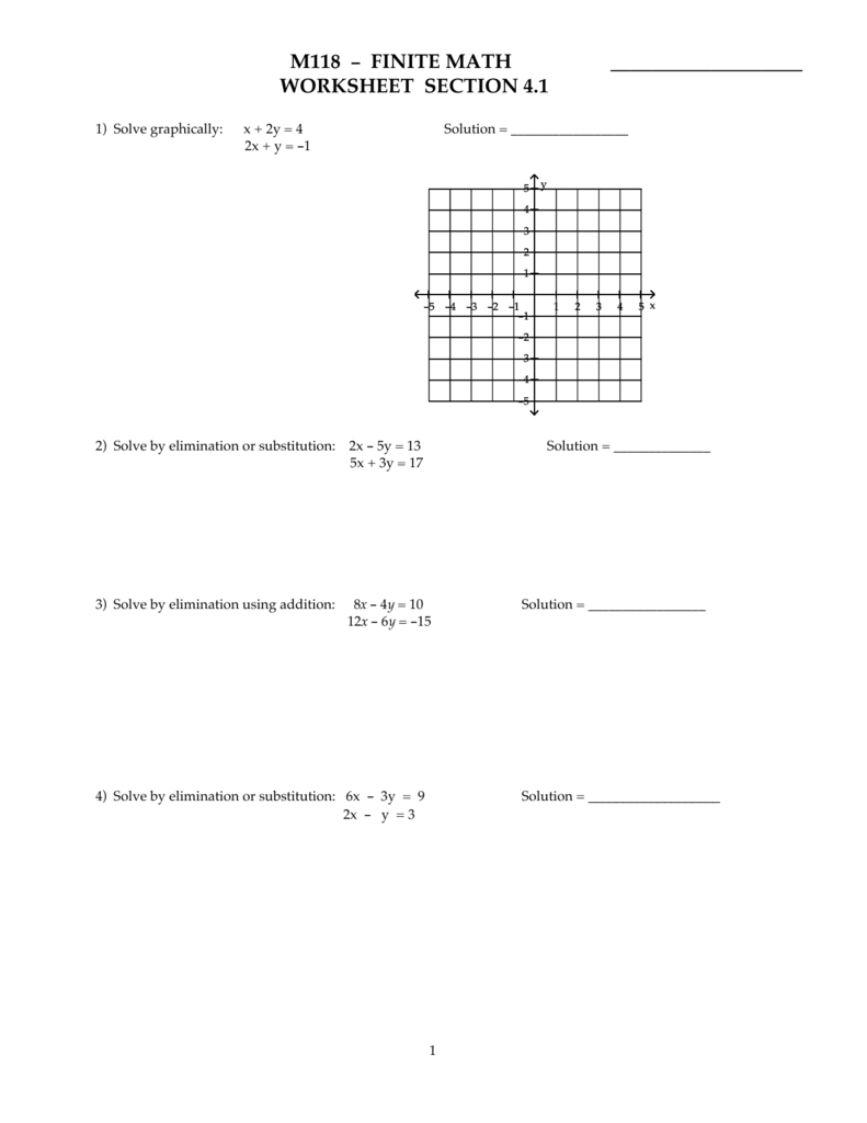 M118 - FINITE MATH WORKSHEET SECTION 4.1