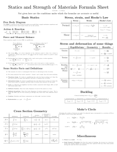 Statics and Strength of Materials Formula Sheet