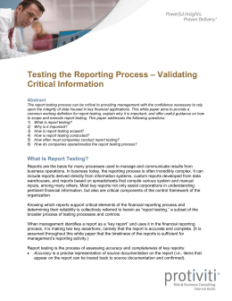 Testing the Reporting Process