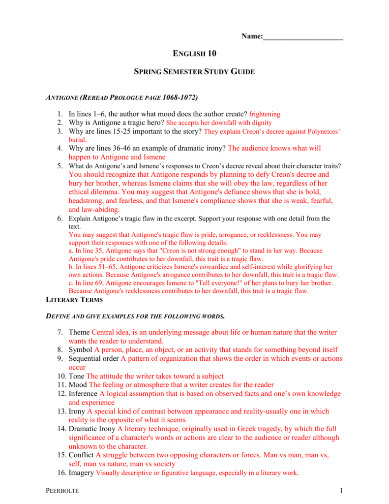 Antigone Study Guide - Practice Test Questions & Final ...