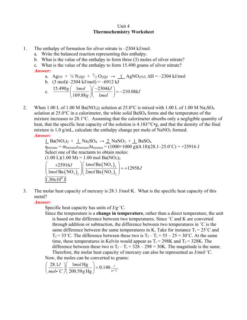 Unit 4 Thermochemistry Worksheet 1. The enthalpy of formation for