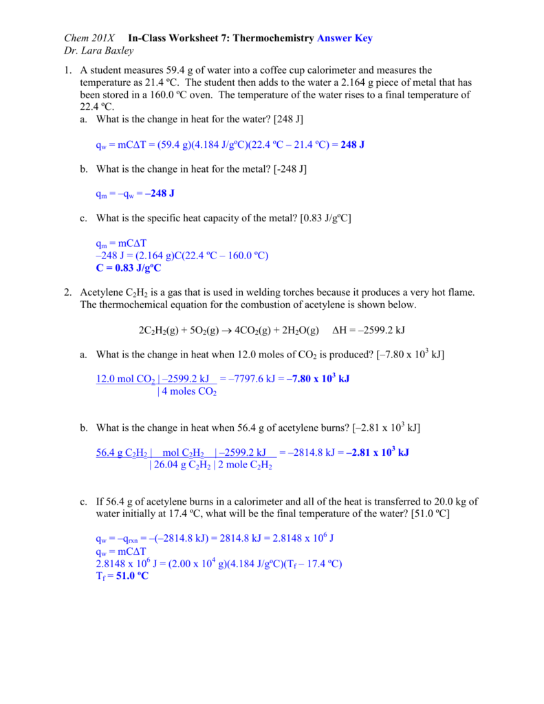 Chem 201x In Class Worksheet 7 Thermochemistry Answer Key Dr