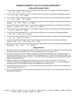 Ch 8 thermochemistry worksheet eboard 0708 | Coursework Example