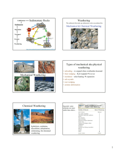 Sedimentary Rocks Weathering Mechanical Weathering Types of