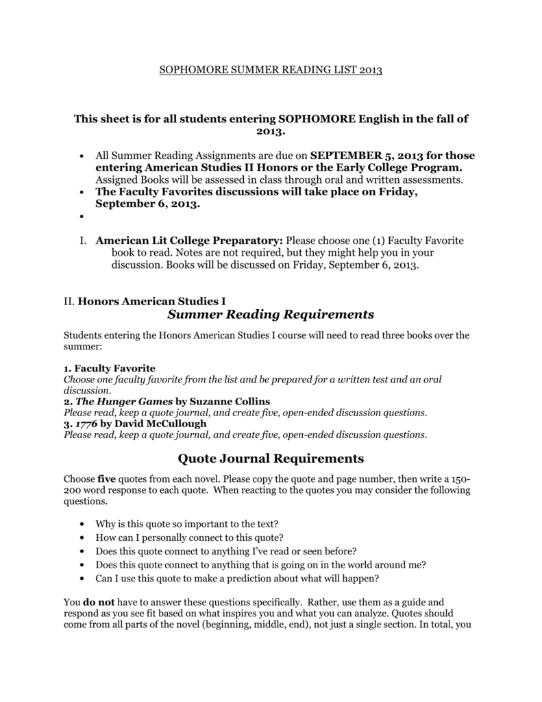 Summer Reading Requirements Quote Journal Requirements