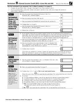 2013 Worksheet B Earned Income Credit Eic