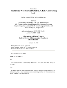 South Side Woodwork (1979) Ltd. v. RC Contracting Ltd.